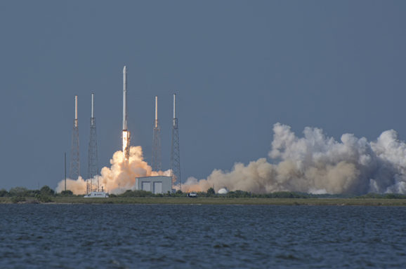 SpaceX Falcon 9 CRS-8, April 8th 2016 Liftoff as viewed from the NASA Causeway