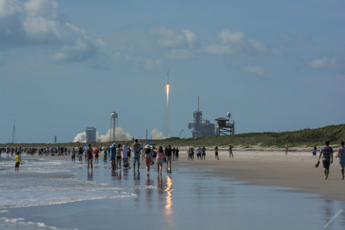 SpaceX CRS-7 Falcon 9 Rocket, launching from SLC-40 at 10:21 am. on June 28th, 2015 Viewed from Playalinda Beach at Cape Canaveral National Seashore